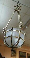 Suspension bronze doré Vasque en cristal givré Lustre d'entrée Plafonnier