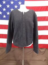 Talbots Jacket Wool Coat Zip Front Long Sleeve Gray Women's Size L