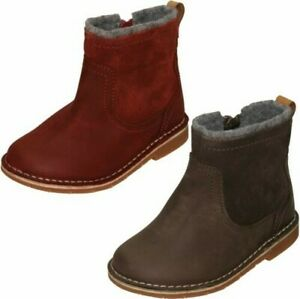 Girls Clarks Zip Up Ankle Boots - Comet Frost