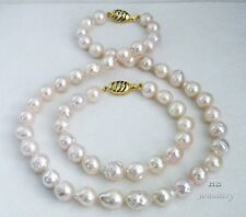HS Baroque 9.5X12.5mm Akoya Cultured Pearl Bracelet & Necklace Set 14K Diamonds