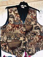Vintage Bobbie Brooks Women's Safari Animals Woven Noah's Ark Vest SIze XL NWOT
