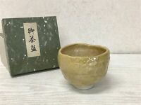 Y1774 CHAWAN Raku-ware signed box Japanese bowl pottery Japan tea ceremony