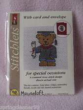MOUSELOFT STITCHLETS CROSS STITCH KIT ~ GRADUATION TEDDY ~ CARD & ENVELOPE ~ NEW