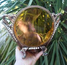 Vintage JEWELED Vanity Jewelry Bowl compote vase Stylebuilt filigree ormolu Ambe