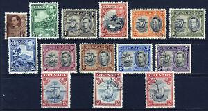 GRENADA King George VI 1938-50 Full Pictorial Set + Varieties SG 152 to 163d VFU