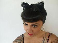 Foulard cheveux fin tulle mousseline transparente noir carré coiffure pinup