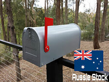 US style LETTERBOX MAIL BOX MAILBOX FLAG SILVER NEW GALVANIZED STEEL RSD