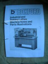 Boxford Training Lathes Machine Notes & Parts Manual 1970s
