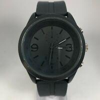 Unlisted UL1200 Mens Multi Dial Black Rubber Metal Bezel Quartz Analog Watch