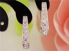 Fashion Sweet silver cubic zirconia U Style Lady's Hoop Earrings