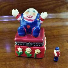 Vintage HUMPTY DUMPTY & Kings Man Porcelain Jewelry Trinket Box Hand Painted
