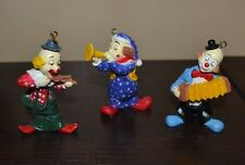 Lot of 3 Vintage Christmas Ornaments Clown Circus
