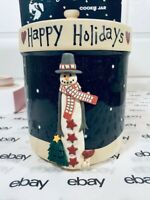 Midnight Snowman Becca Barton Christmas Cookie/Biscuit Jar Ceramic  CIC7311 *NIB