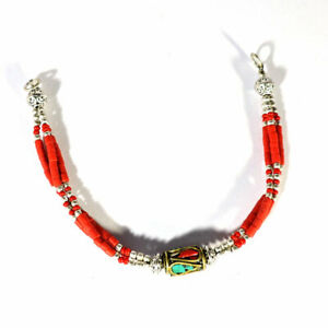 Natural Tibetan Turquoise Red Coral Gemstone Sterling Silver Jewelry Bracelet