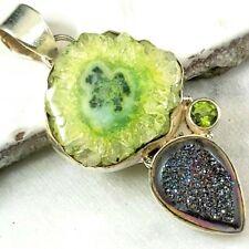 Titanium druzy geode quartz pendant .925 sterling silver A14