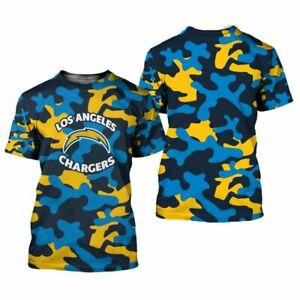 Los Angeles Chargers Men Summer T-shirt Short Sleeve Casual Loose Tee Tops S-5XL