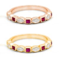 Diamond Ruby Square Wedding Engagement Stackable Band Ring 14k Yellow/Rose Gold