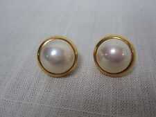 VINTAGE 18K YELLOW GOLD MABE PEARL EARRINGS 3/4""