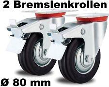 2 Lenkrollen mit Feststeller-Bremse 80mm lenkbar drehbar Stahlfelge Fadenschutz