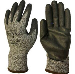 Klass TEK 5005 Cut Level 5 PU Palm Coated Comfort Safety Gloves Grey - 9/L