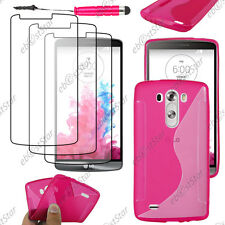 Housse Etui Coque Silicone S-line Rose LG G3 D855 + Mini Stylet + 3 Film écran