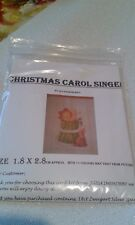 SMALL CROSS STITCH CAROL SINGER CHRISTMAS CARD QUICK KIT WITH white patch  card