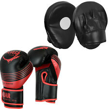 Roar 10oz Boxing Bag Gloves and Focus Pads Set Mma Sparring Punching Mitts