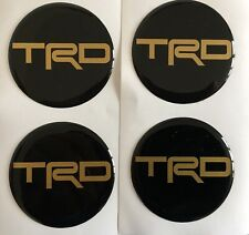 TOYOTA TRD ALLOY WHEEL CENTRE CAP DOMED STICKERS X4  MR2 GT86 BLACK & GOLD 45mm