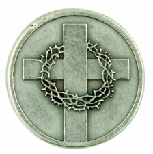 Cross with Crown of Thorns Silver Tone Pocket with John 14:6 Scripture, 1 1/8 In
