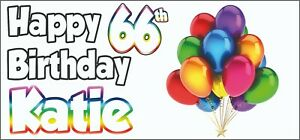 2 PERSONALISED Balloon 66th Birthday Banner Party Decorations Mens Ladies Adults