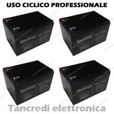 4 Batterie 12V 12AH GEL PIOMBO CICLICA DEEP CYCLE RICARICABILE 14AH FASTON 6.35