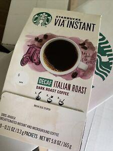 2 Starbucks VIA Instant Decaf Italian Roast Coffee 50 Count Ec Total 100 Bb10/20