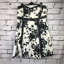 New Look Inspire UK 26 Black White Floral Dress Lace Detailing Strapless