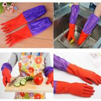 EXTRA LONG WASHING GLOVES CLEANING QUALITY Warm Waterproof Rubber GLOVE KITCHEN