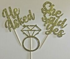 Cup cake Toppers Engagement, hen party, bridal shower Glitter Pack of 6
