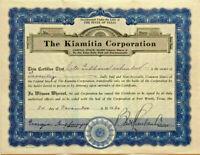 The Kiamitia Corporation > 1930 Fort Worth Texas oil stock certificate share