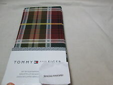 NEW Tommy Hilfiger Fabric Set of Four Napkins ~ Wine, Green, Blue, Yellow Plaid