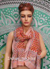 Indian Dupata Cotton Long Sarong Stole Scarf New Hand Block Print Fabric Women
