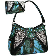 Western Turquoise Concho Accented Handbag Purse With Matching Wallet
