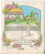 VINTAGE 1930'S TENNIS GAME COURT ROSES ARBOR GARDEN GREEN GRASS GREETING HB CARD