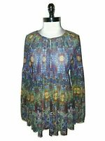SIMPLY ASTER by FIRMIANA Size XL Tunic Top Shirt Blue Red Green Floral Stretch