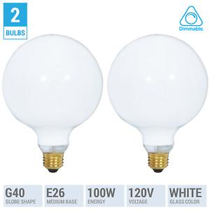2 Pack 100G40/W Incandescent Globe Bulbs 120V 100W G40 Medium E26 Dimmable White