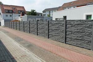 20m Betonzaun Sichtschutz doppelseitig Struktur Druck A
