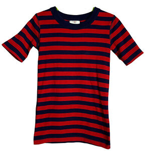 HANNA ANDERSSON Boys Short Sleeve Pajama Top US 8 / 130 Red Navy Striped Cotton