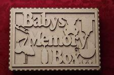 MDF in legno in legno Baby's Memory BOX BABY BOMBONIERA BOX Craft MURO PORTA APPESI...
