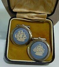 Jasperware Silver Cufflinks + Box / Ships New listing Vintage Wedgwood Made In England Blue