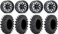 "Raceline Krank 14"" Black Wheels 32x9.5 Outback Max Tires Commander Maverick"