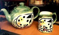 Novelty Vintage 80s Cow Themed Studio Pottery Green 2-Pint Teapot & Creamer Jug