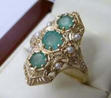 Vintage Emerald & Pearl Ring, 9ct 9k Solid Gold, Antique Womens R122 Custom