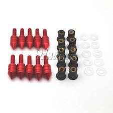 Red Windscreen Spike Bolts Well Nuts For Kawasaki Ninja ZX 6R 636 10R 250R EX